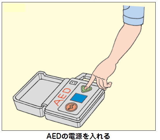 AED電源を入れる